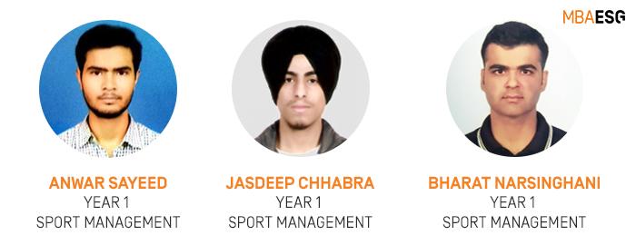 MBA ESG Sport Management students, Anwar Sayeed, Jasdeep Chhabra, and Bharat Narsinghani